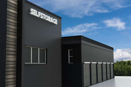 3d illustration of a modern self storage building Foto de archivo - 130850458