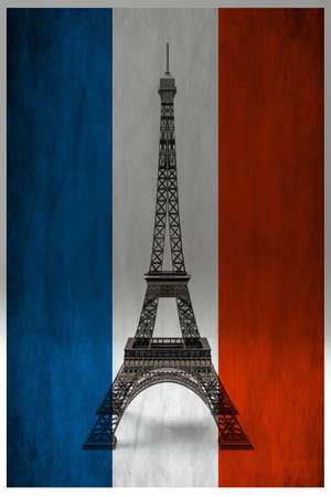 Tour Eiffel isolated behind the French flag 3d illustration