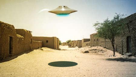 ufo flying over a desert village 3d illustration