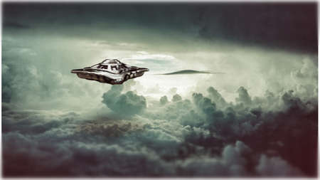 unidentified flying object in the sky 3d illustration