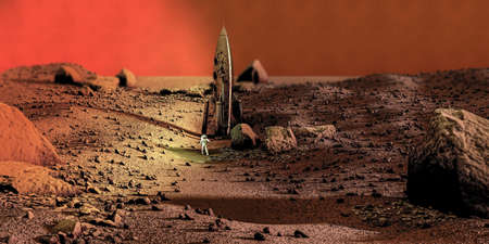 space rocket on planet mars 3d illustration. Special thanks to NASA for textures used for this work. Banco de Imagens - 132031988