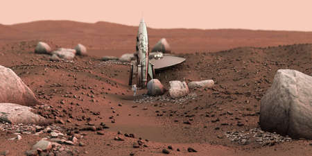 ufo found on martian land 3d illustration. Special thanks to NASA for textures used for this work. Banco de Imagens - 132031992