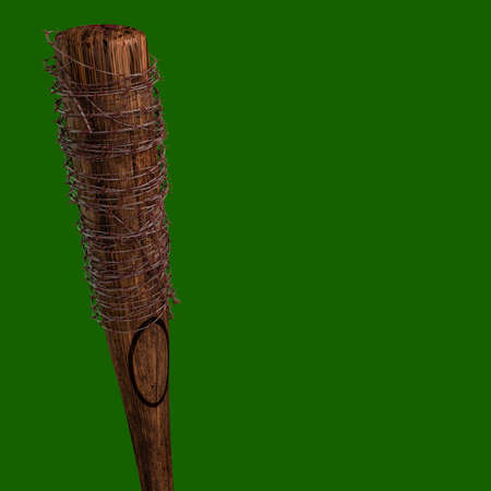 baseball bat with barbed wire isolated on green background