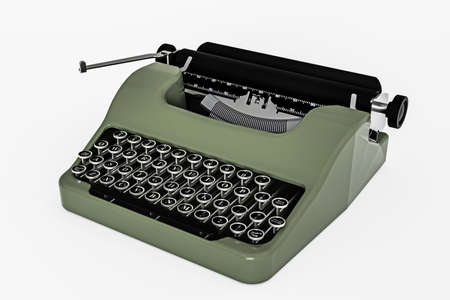 old green typewriter isolated on white background 3d illustration