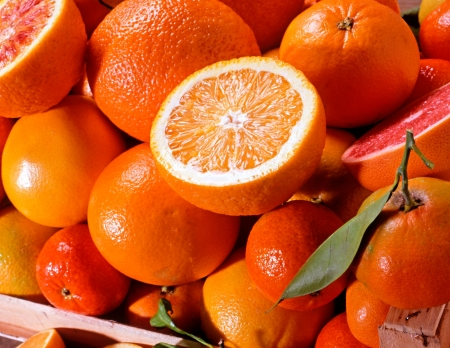 Assortment of fresh colourful citrus fruit with whole oranges, clementine, naartjies and grapefruit with halved fruit on the top displaying the succulent pulp Stock Photo - 15471620
