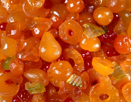 Mustard-flavoured Italian mostarda or candied fruit served as a condiment and accompaniment for meat and cheese