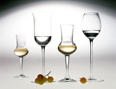 Elegant glasses in different shapes of grappa, an Italian pomace brandy, with both uncoloured and lightly coloured distillate
