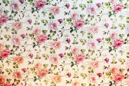 빈티지 핑크 장미 꽃 반복 배경 무늬의 벽지와 잎을 끄는