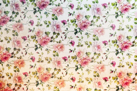 Vintage pink roses wallpaper in a repeat background pattern with flowers and trailing leaves Stock Photo - 16598476