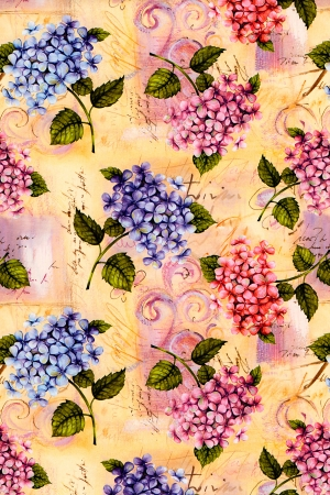 Abstract background of pretty hydrangea vintage wallpaper with a repeat pattern of pink and blue flowers Stock Photo