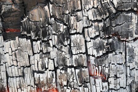 charred: Abstract background detail of burnt wood or charcoal with a cracked blackened surface with grey ash Stock Photo