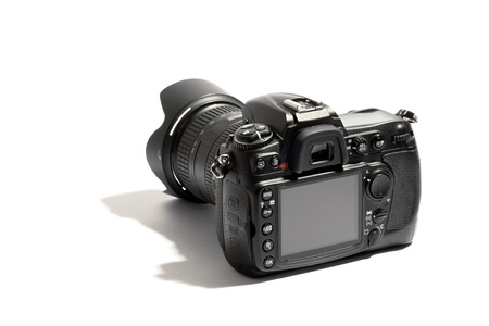Rear view of a digital dslr camera and lens with a blank viewfinder on a white background with shadow Stock Photo