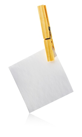 notelet: Blank square white notelet hanging from a wooden clothespeg for your message or reminder, isolated on white
