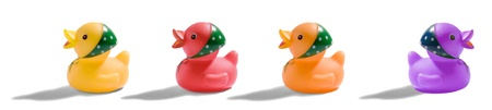 Colourful rubber duck horizontal banner with a row of four cute little ducks with head scarfs in different colours, three facing to the left and a purple one on the right facing the opposite way photo