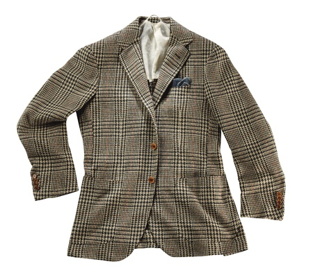 lapels: Stylish tailored brown checked wool jacket with lapels displayed on a white background