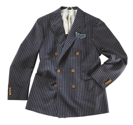 Dark grey stylish pinstripe double-breasted jacket displayed with one sleeve in the pocket on a white background