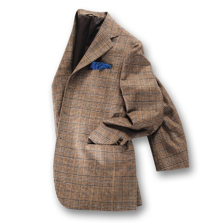 Elegant brown tweed jacket displayed folded in half with the sleeve tucked into the pocket on a white background
