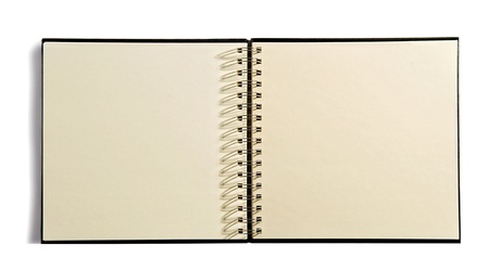 unlined: Open spiral bound agenda book with blank unlined pages for your notes or schedule on a white background Stock Photo