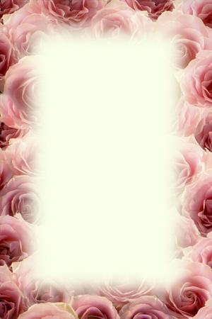Marco de bonitas delicadas rosas de color rosa con copyspace en blanco central rectangular para el texto o mensaje