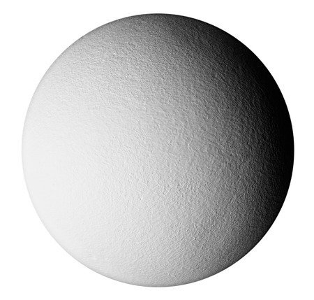 stippled: A textured grey sphere with shadows that give it a 3D look.