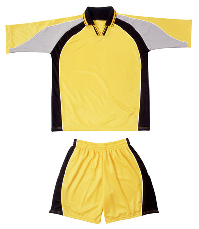 short sleeved: Grey, black and yellow sports uniform with elasticized gathered shorts and a short sleeved shirt with a collar and pattern on the arms isolated on white