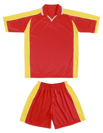 short sleeved: Red and yellow sports uniform with gathered shorts and a short sleeved shirt with a collar isolated on white
