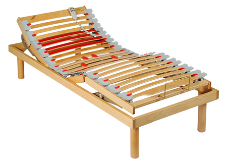 slats: Adjustable motorised bed with a network of movable slats down its entire length to ensure maximum comfort, isolated on white