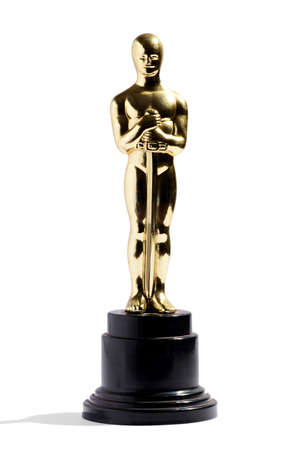 replica: Golden replica of an Oscar film award on a black plinth isolated on white in vertical format
