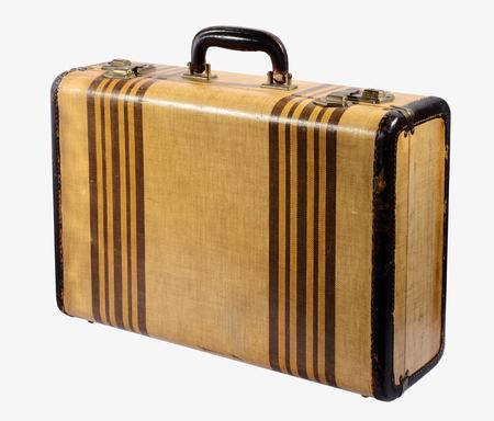starr: Old vintage klassischen starren Rahmen Koffer mit Messingschl�sser und verziert mit Streifen aufrecht isoliert auf wei�em konzeptionellen von Reisen und Urlaub