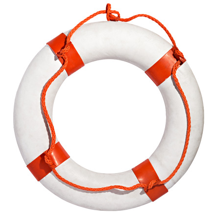 Clean white life ring, lifesaver or life preserver with red rope for a drowning person to grab isolated on a white background Stock Photo