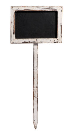 distressed wood: Small old blank blackboard , slate or chalkboard in a distressed wood frame on a wooden stake isolated on white, with copyspace