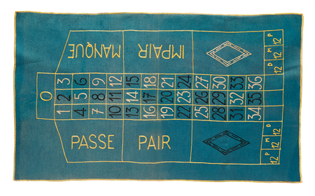bets: Vintage roulette carpet for placing bets on the number - odds or evens, red or black - on which the ball on the spinning wheel will come to rest