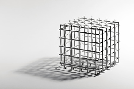 the sides: Open empty cube frame with a square lattice and equilateral sides on a white background with a shadow and copyspace Stock Photo