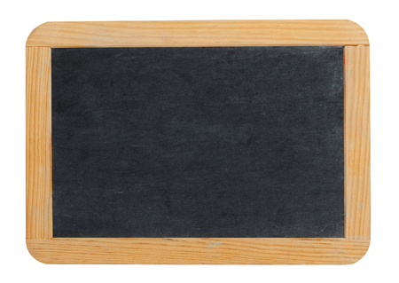 Small blank blackboard or school slate with a wooden surround and copyspace for your text or advertising isolated on white