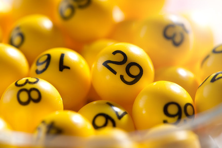 lucky: Background of yellow balls with bingo numbers used to randomly select lucky numbers during a bingo game