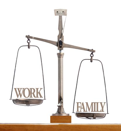 Oude antieke pan schaal die het belang en de balans tussen werk en gezin met familie en quality time gewogen als de prioriteit