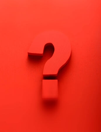 search query: Red question mark on a red background in a conceptual image of a question, query, problem, interrogative, solution, search and answer