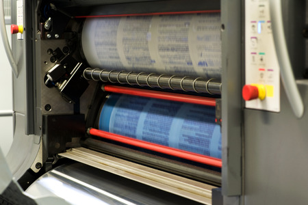 rotary: Printing Plenty of Documents or Papers Using Rotary Printing Press Machine.