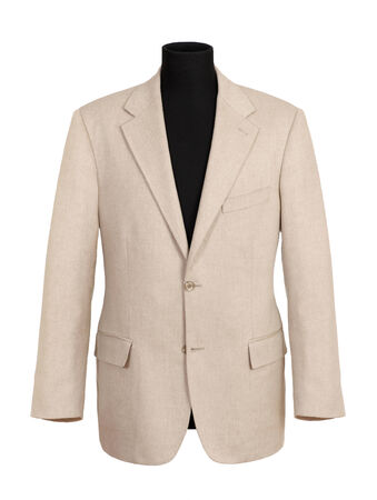 white long sleeve: Close up Off White Long Sleeve Corporate Suit on Black Mannequin Isolated on White Background.