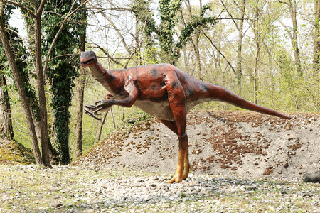 large formation: One Large Statue of a Gallimimus Animal, a genus of ornithomimid theropod dinosaur from the late Cretaceous period Nemegt Formation of Mongolia, Standing at the Park