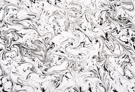 fluidity: Full Frame Black and White Swirling Marble Patterned Abstract Ideal for Background