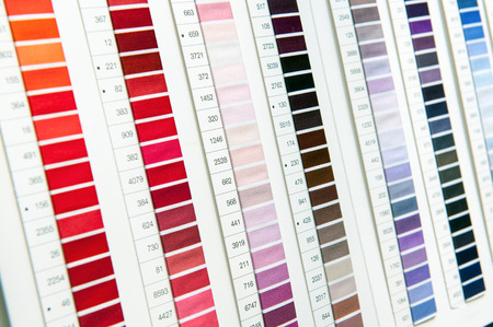 Color Chart Or Table With Numbered Hues And Shades On A Wall Stock