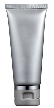 unlabeled: Unlabeled gray plastic tube for packaging of toiletries or cosmetics such as a sunscreen, isolated on white
