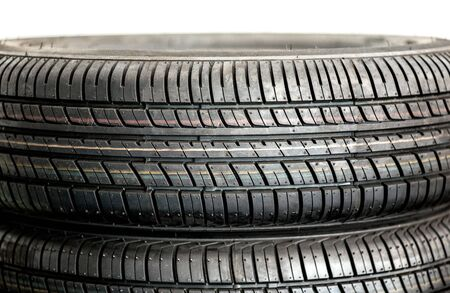 traction: Close up detail of the tread of a pair of new winter tyres for enhanced traction and grip in low temperatures Stock Photo