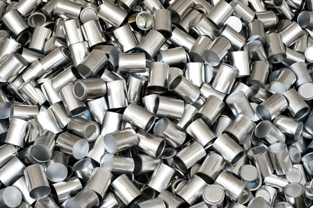 unlabelled: Background texture of empty silver unlabelled aluminium cans for packaging and food preservation, full frame overhead view