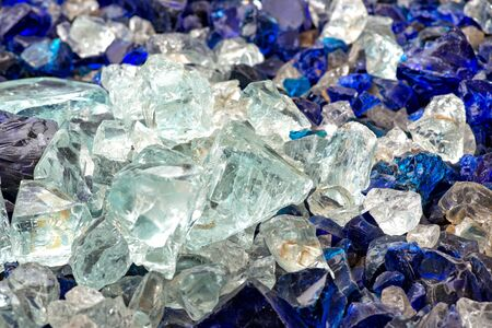 rough diamond: Pieces of white and blue raw glass