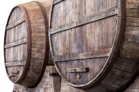 ageing: Large oak barrels in the cellars of a winery, brewery or distillery for the storage, fermentation or ageing of alcoholic beverages