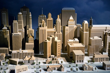 architecture: 3d scale model of a city showing the CBD with modern skyscrapers and high-rise commercial architecture, infrastructure and buildings