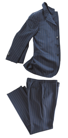 Artistically folded fashionable dark grey suit on white viewed side on with a jacket and pair of pants Banque d'images