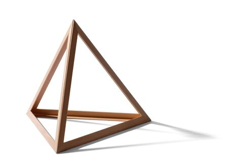 Open empty wooden triangular pyramid shape forming a standard geometric triangle with shadow on a white background